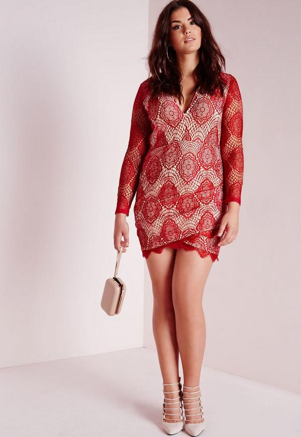 Plus Size Lace Plunge Dress Red