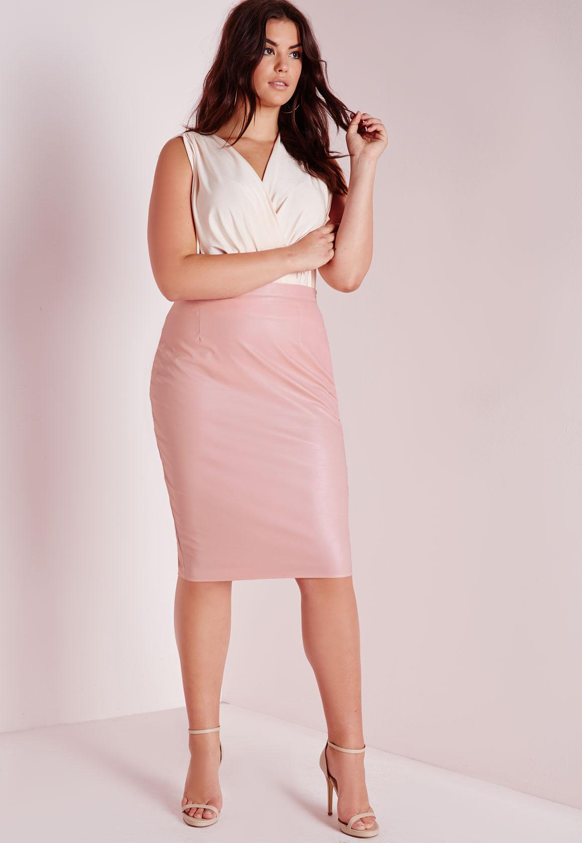 Plus Size Faux Leather Midi Skirt Blush | Missguided
