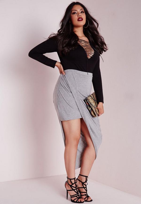 Plus Size Draped Asymmetric Jersey Midi Skirt Grey