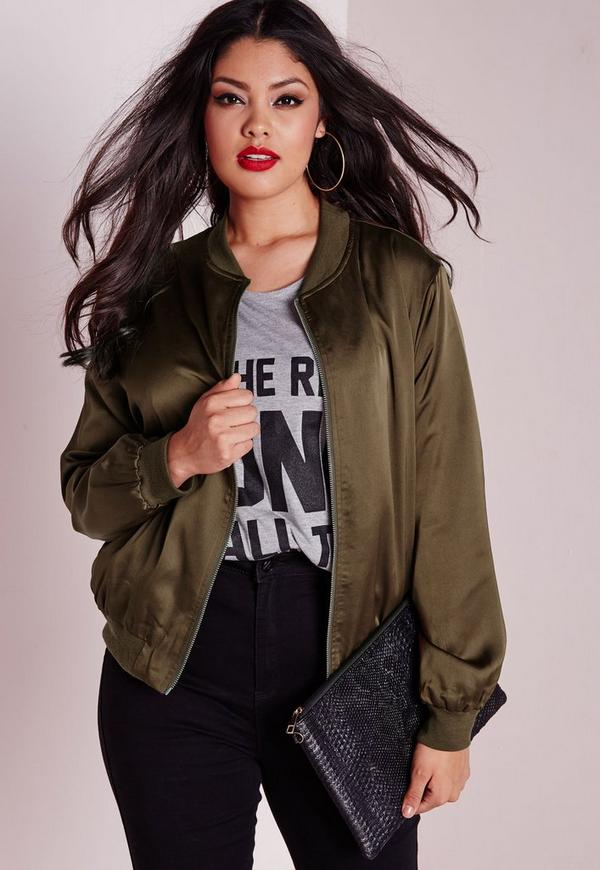 Plus Size Silk Bomber Jacket Khaki