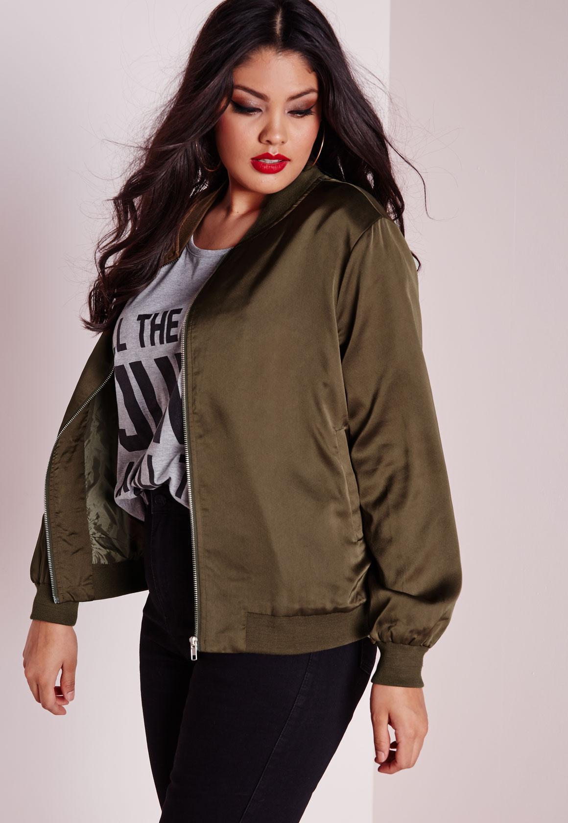 Plus Size Silk Bomber Jacket Khaki | Missguided