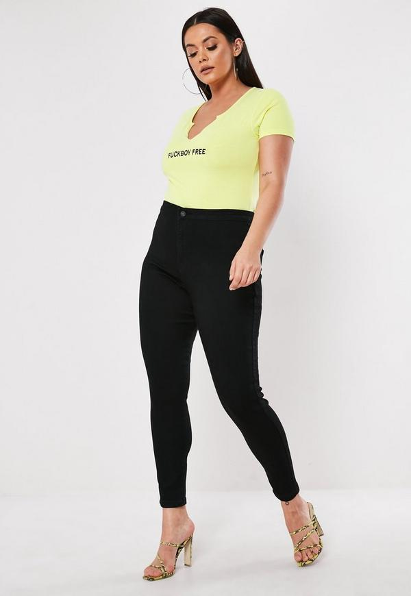 Plus Size High Waisted Skinny Jeans Black