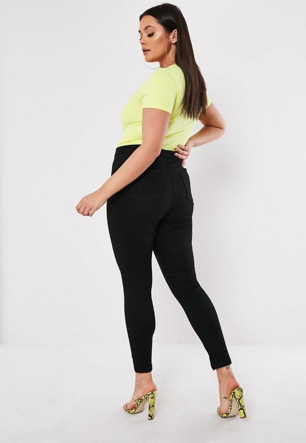 Plus Size High Waisted Skinny Jeans Black | Missguided