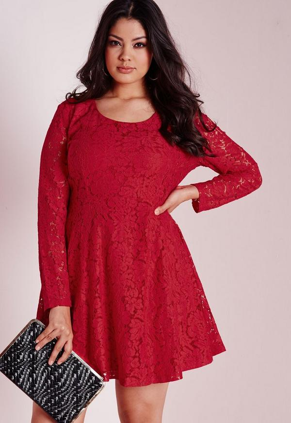 Plus Size Lace Skater Dress Red | Missguided
