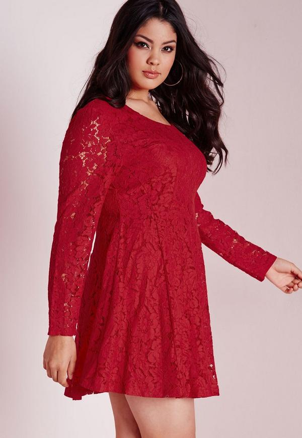 Plus Size Lace Skater Dress Red