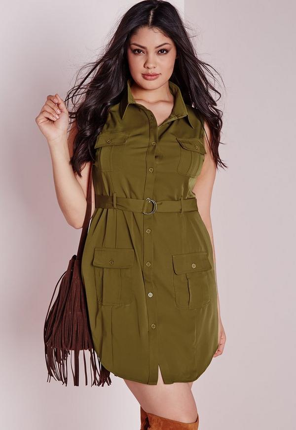 Plus Size Pocket Button Front Dress Khaki