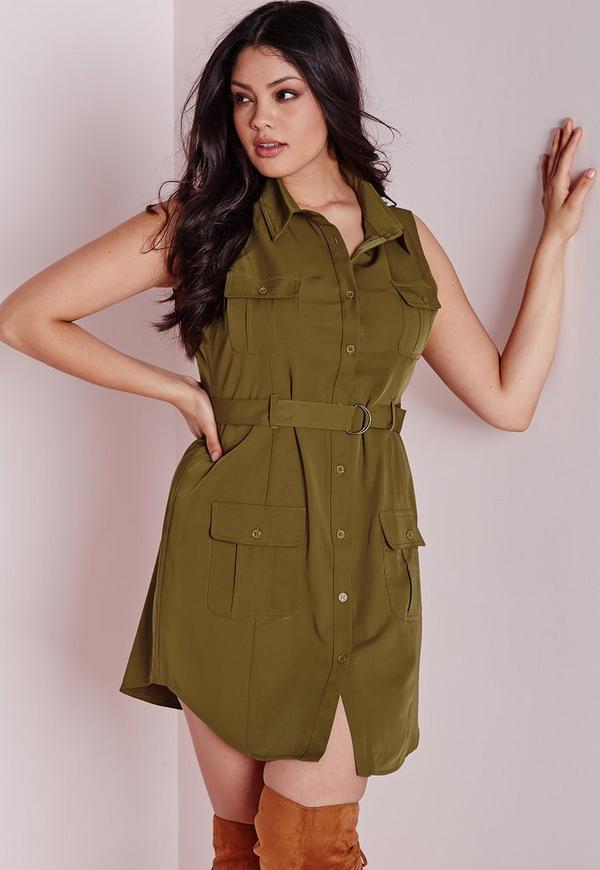 plus size pocket button front dress khaki missguided