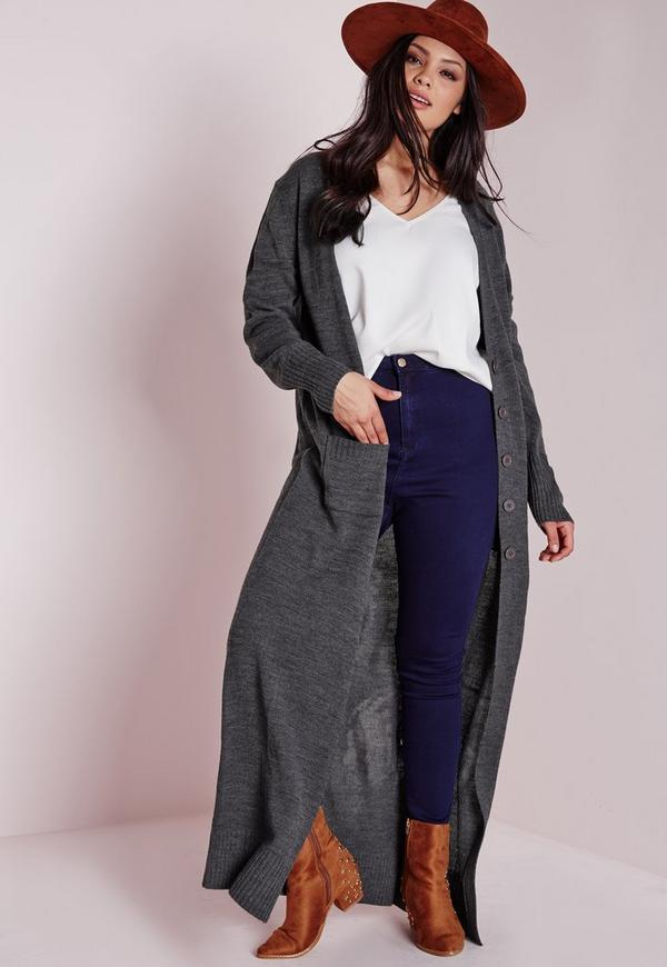 Plus Size Longline Button Up Cardigan Grey