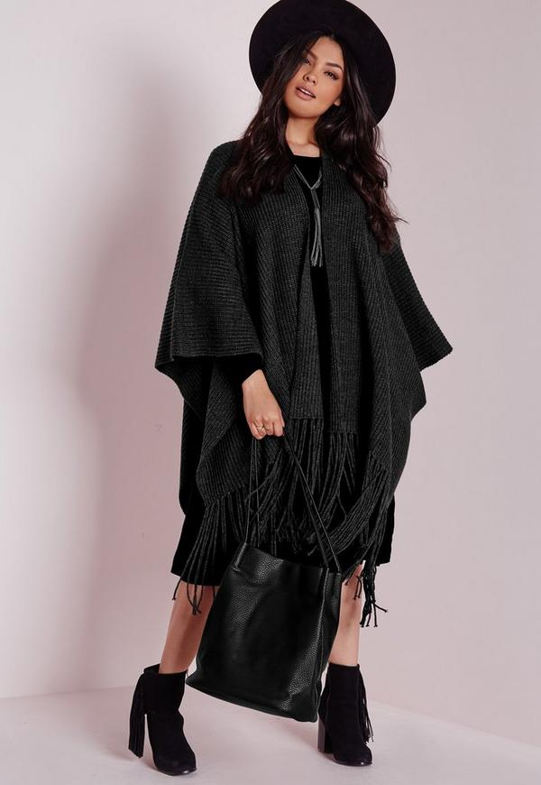 Plus Size Chunky Knitted Cape Grey