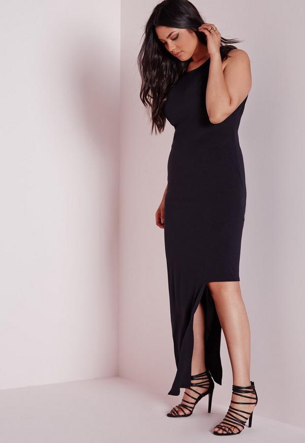 Plus Size Asymmetric Dress Black