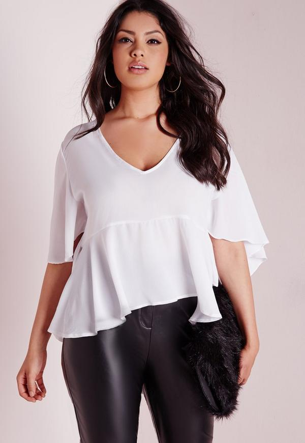 Plus Size Angel Sleeve Top White