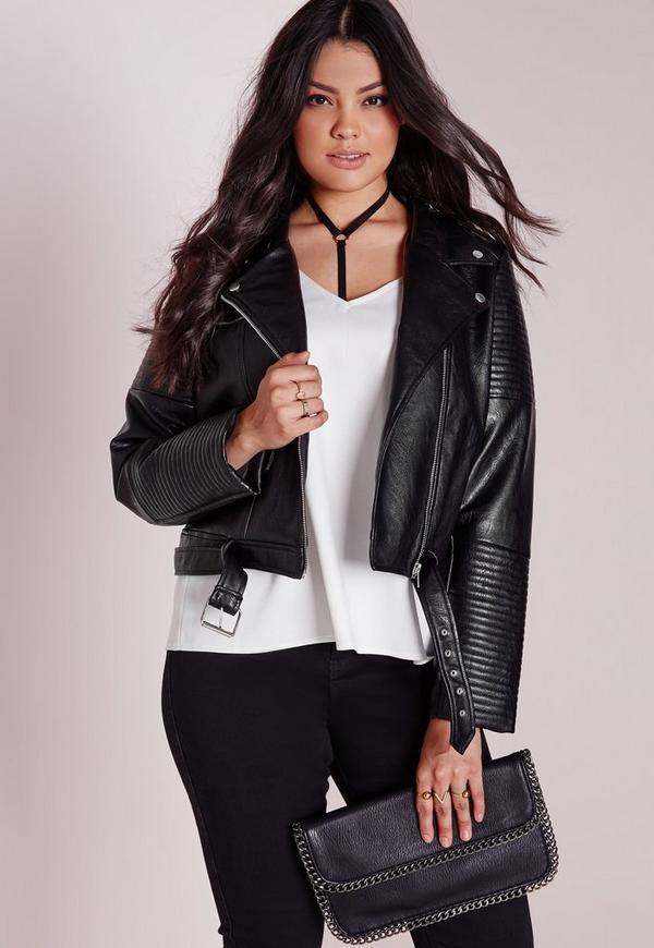 Plus Size Faux Leather Biker Jacket Black
