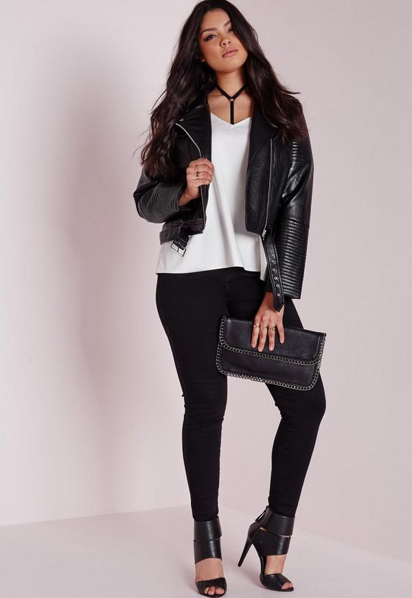 Plus Size Faux Leather Biker Jacket Black | Missguided Australia