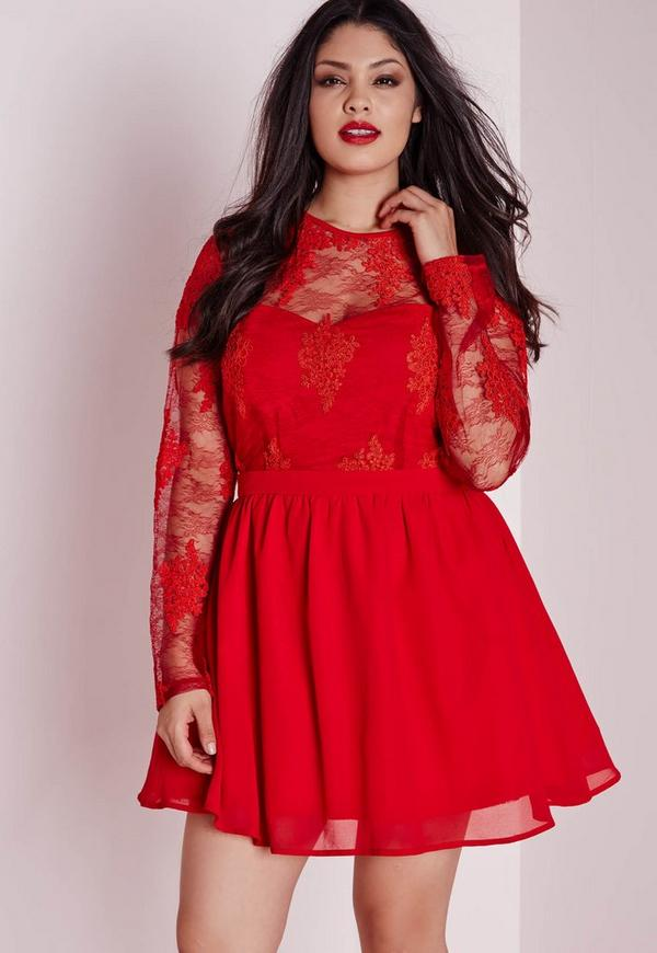 Plus Size Lace Prom Dress Red