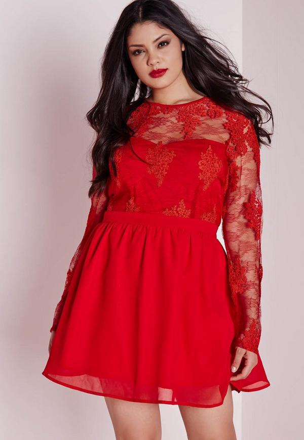 Plus Size Lace Prom Dress Red Missguided