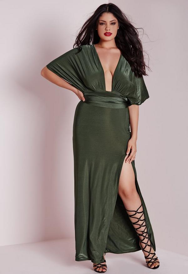 Plus Size Do It Anyway Slinky Maxi Dress Khaki