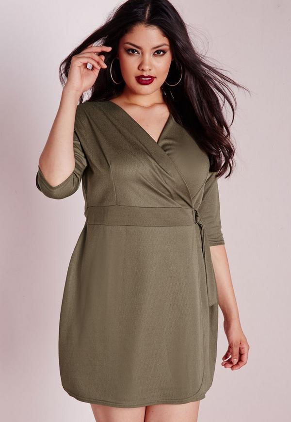 Plus Size Wrap Crepe Belt Dress Khaki Missguided