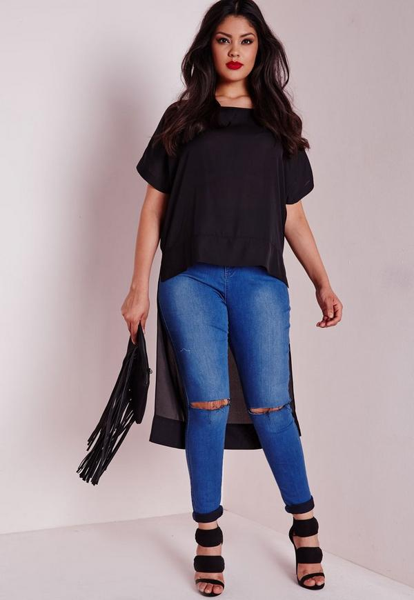 Plus Size Drop Hem Cap Sleeve Chiffon Top Black