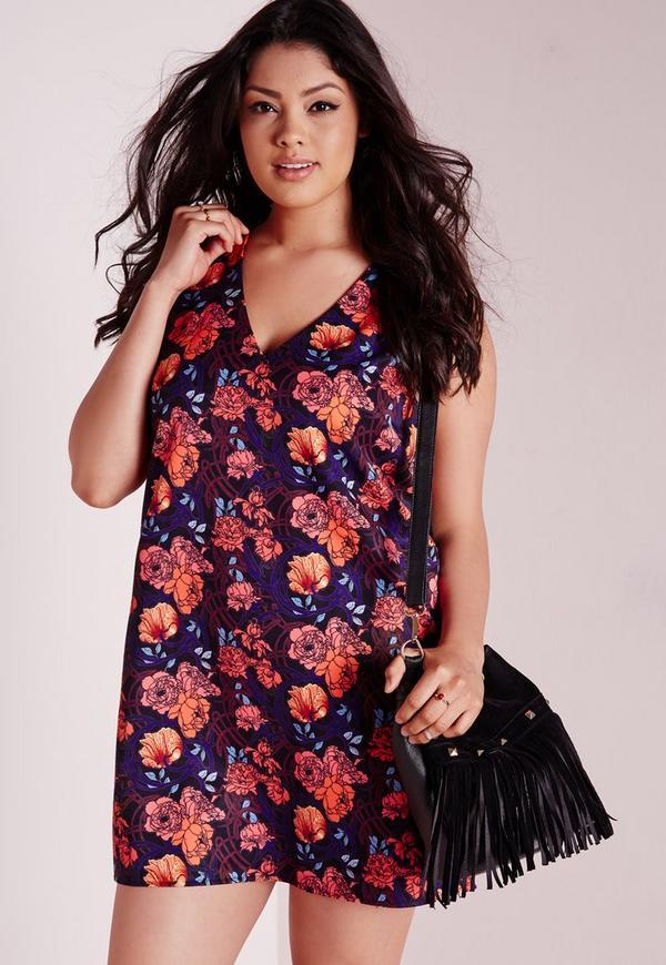 Plus Size Print Swing Dress Floral