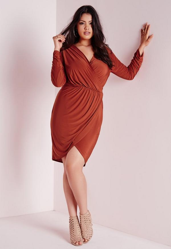 Plus Size Slinky Wrap Dress Rust
