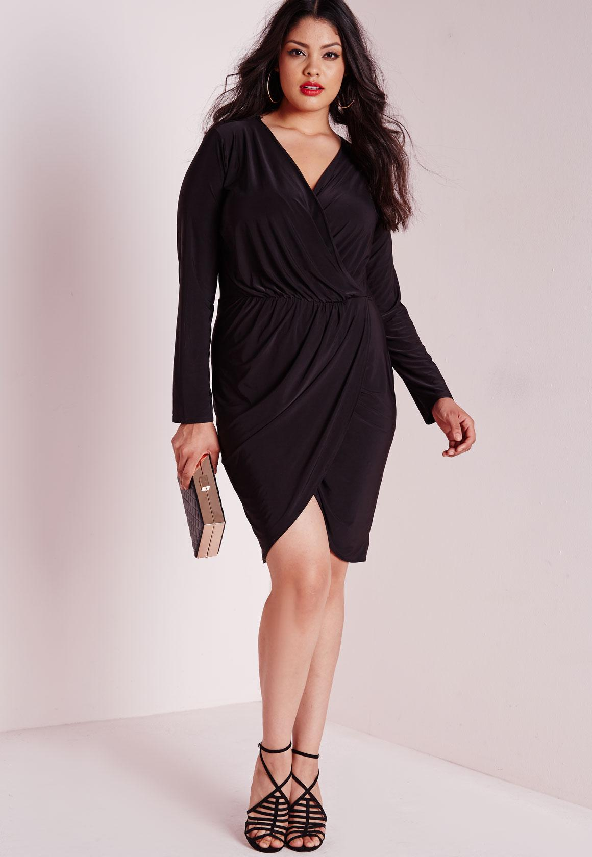 Plus Size Slinky Wrap Dress Black | Missguided