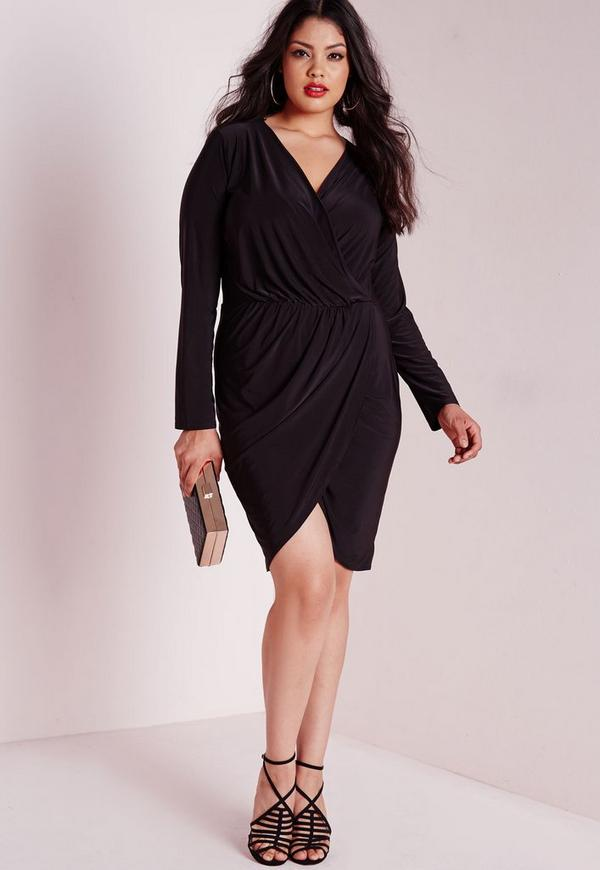 Plus Size Slinky Wrap Dress Black