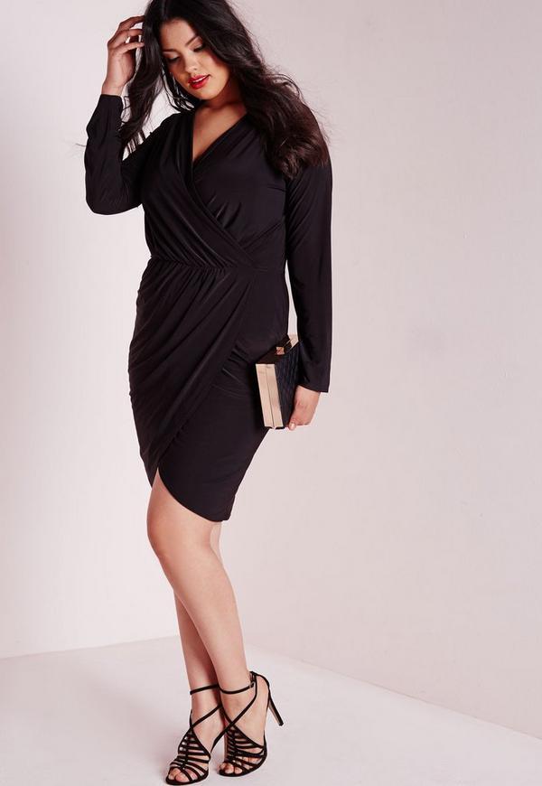 Plus Size Slinky Wrap Dress Black Missguided