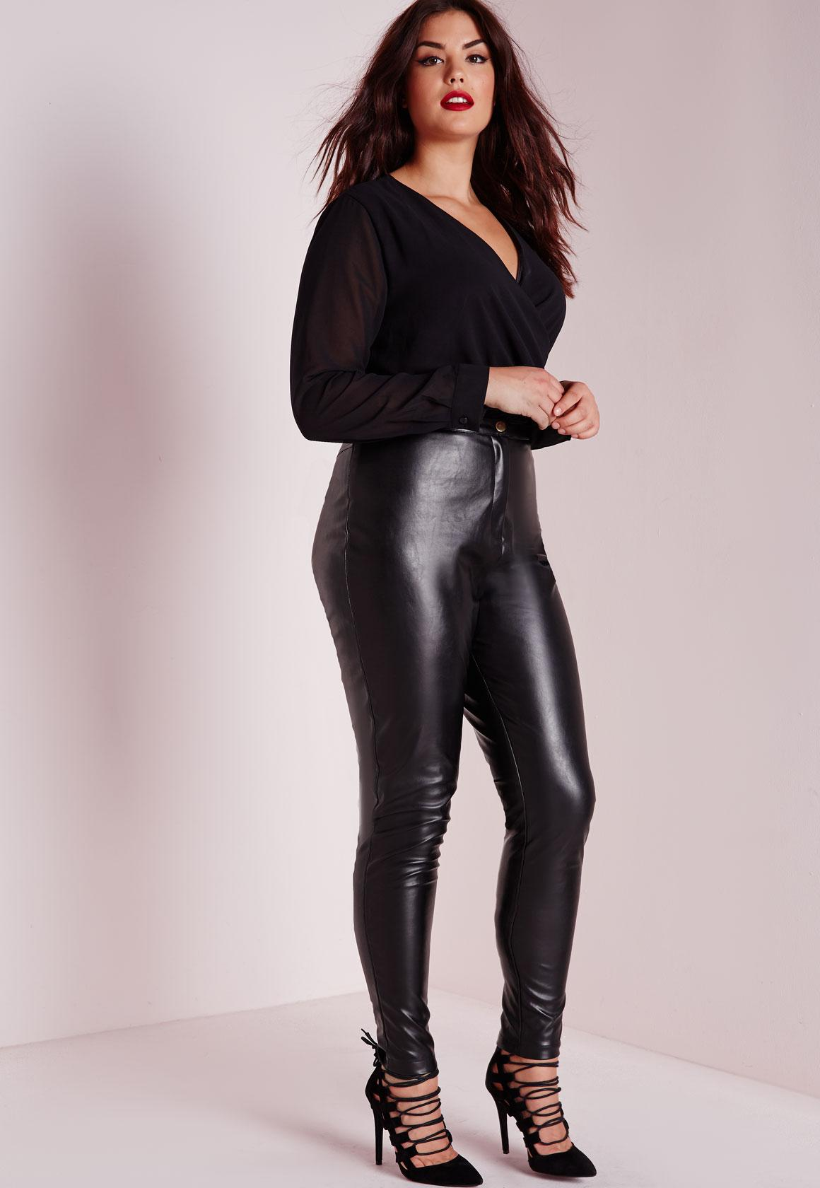Plus Size Faux Leather Trousers Black - Missguided