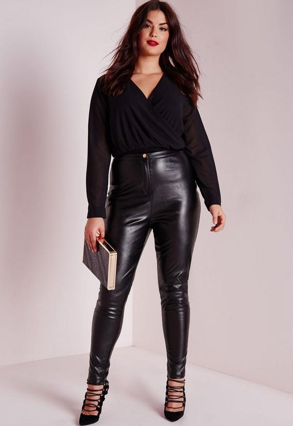 Plus Size Faux Leather Pants Black | Missguided
