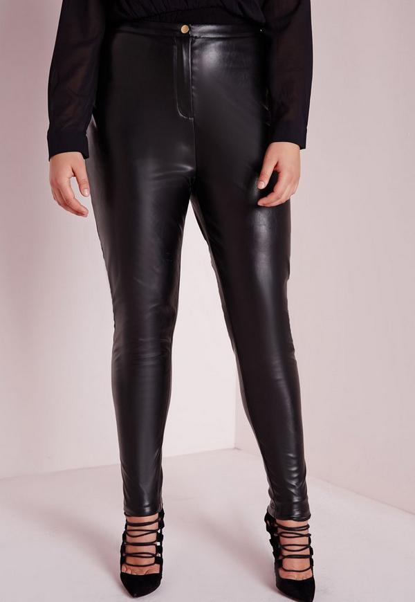 Plus Size Faux Leather Pants Black