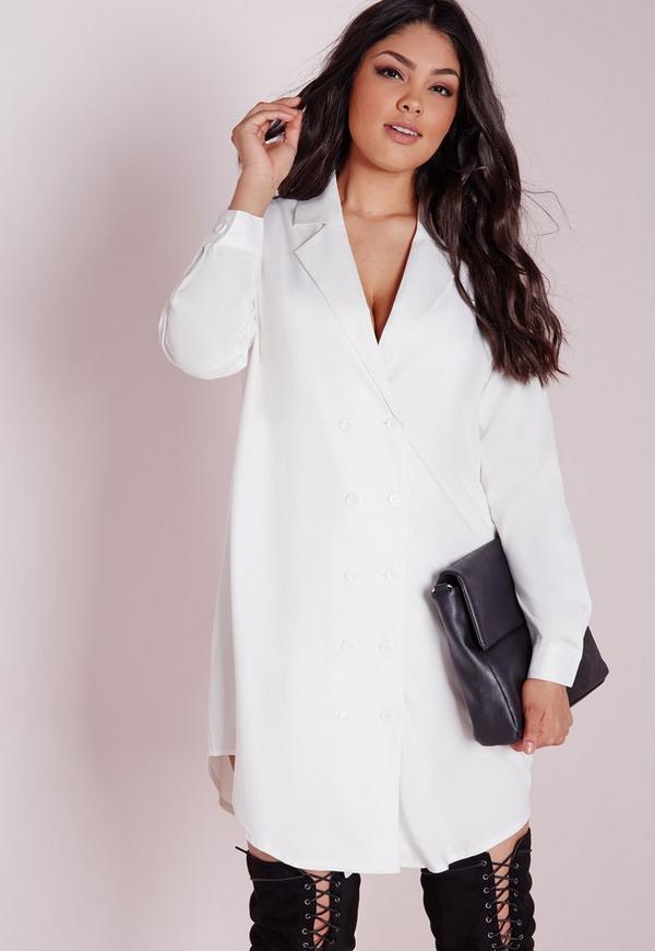 Plus Size Tuxedo Shirt Dress White Missguided