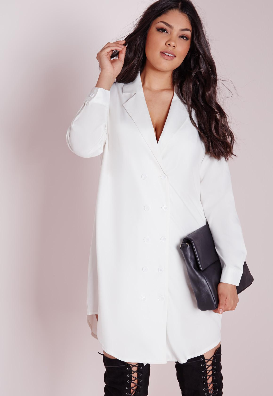 plus size tuxedo shirt dress white | missguided