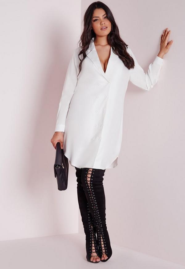 robe blazer blanche grande taille missguided. Black Bedroom Furniture Sets. Home Design Ideas