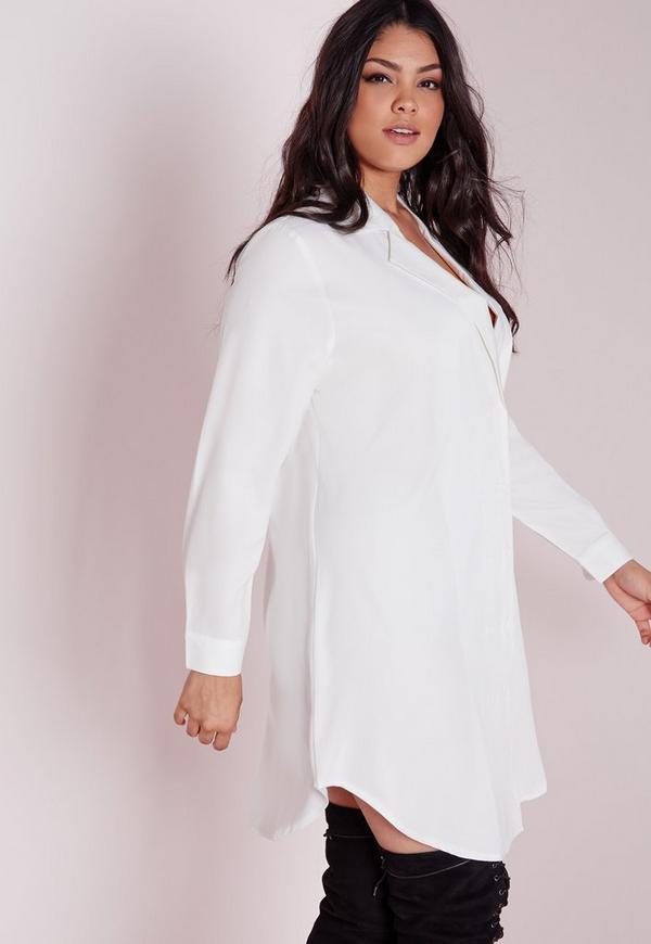 plus size tuxedo shirt dress white | Missguided