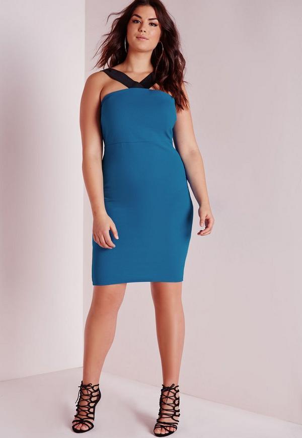 Plus Size Contrast V Strap Dress Teal