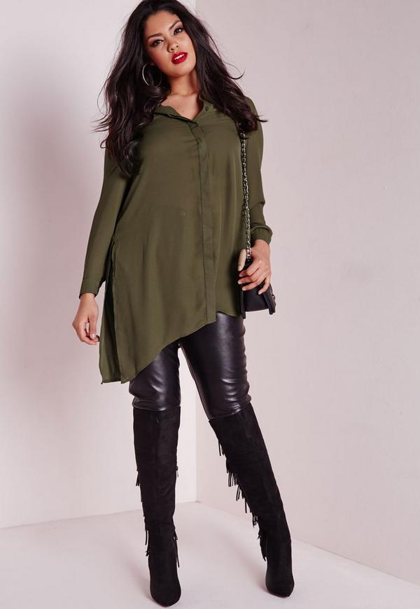 Plus Size Crepe Asymmetric Shirt Khaki