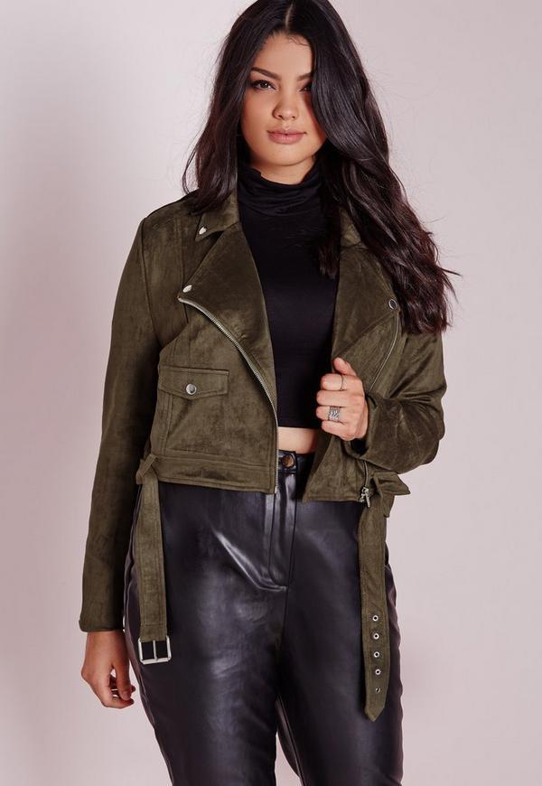 Plus Size Faux Suede Biker Jacket Khaki