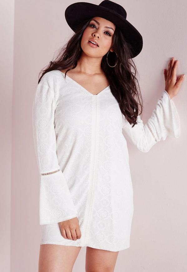Plus Size Boho Lace Swing Dress White