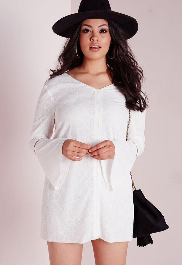 Plus Size Boho Lace Swing Dress White Missguided