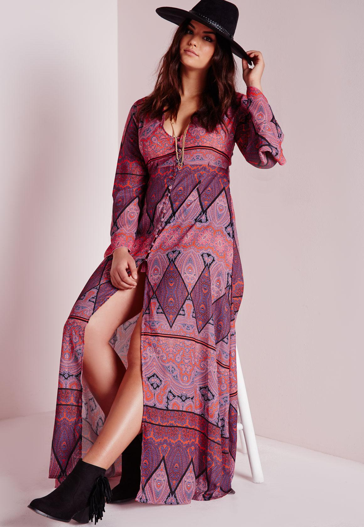 plus size boho maxi dress purple | missguided australia