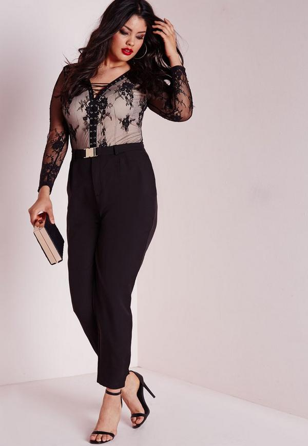 Plus Size Gold Buckle Detail Cigarette Trousers Black