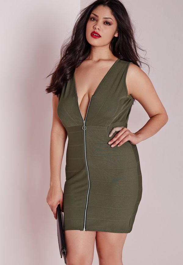 Plus Size Zip Front Bandage Dress Khaki | Missguided