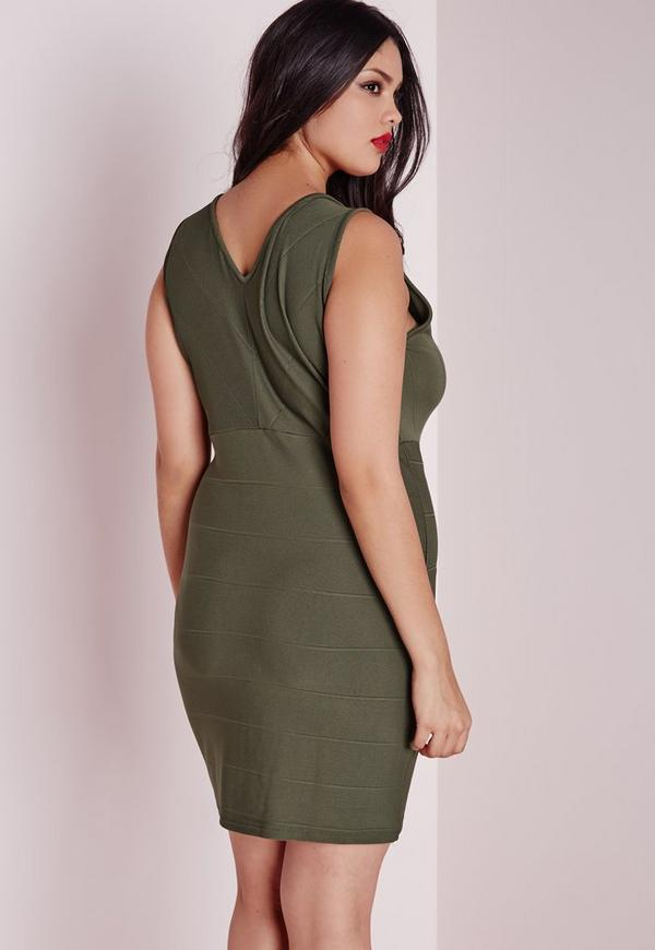 Plus Size Zip Front Bandage Dress Khaki Missguided