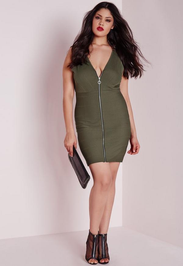 plus size zip front bandage dress khaki | missguided