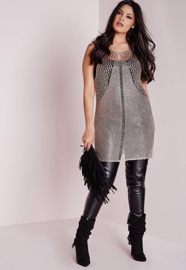 Plus Size Sparkle Knitted Vest Rose Gold