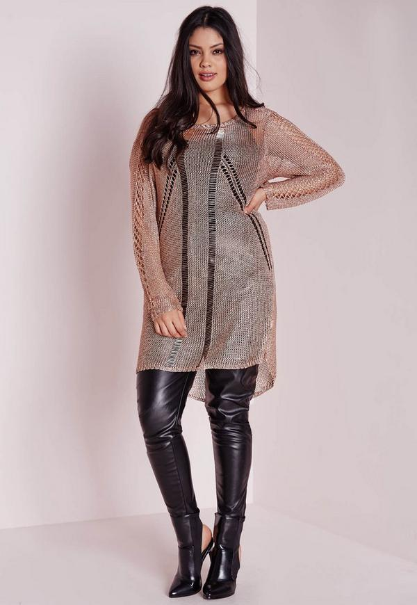 Plus Size Metallic Knitted Jumper Nude