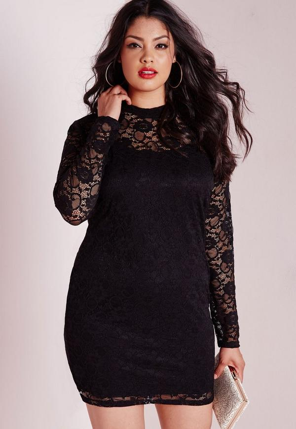 Plus Size Lace Mini Dress Black