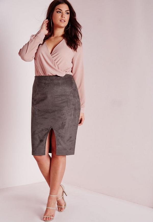 Plus Size Faux Suede Front Split Midi Skirt Grey