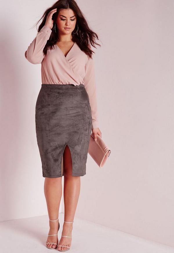 plus size faux suede front split midi skirt grey   missguided