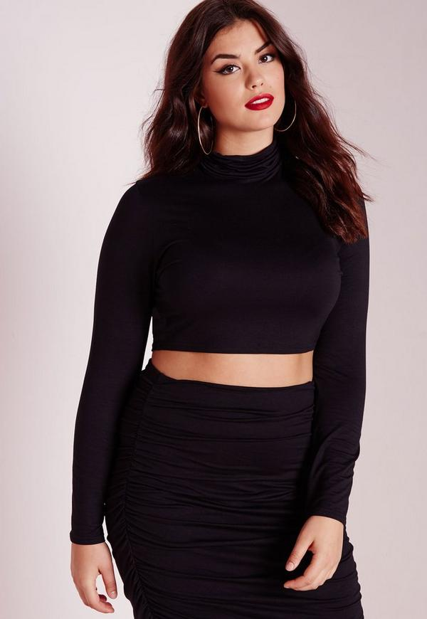 Plus Size Roll Neck Long Sleeve Crop Top Black